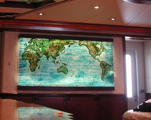 Cast Glass World Map With Topography